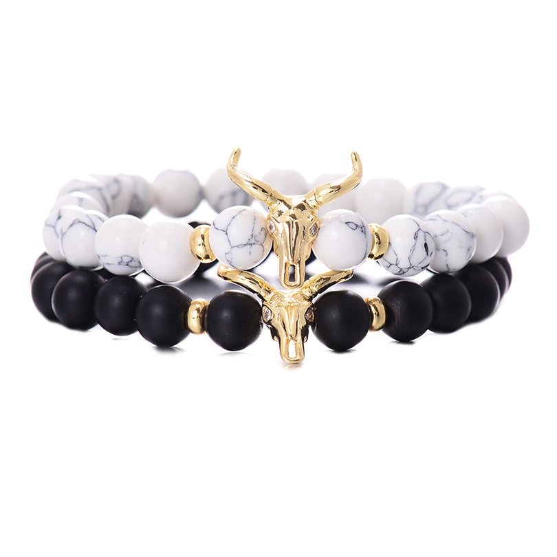 Classic White&Black 8MM Charm Men's Bracelet