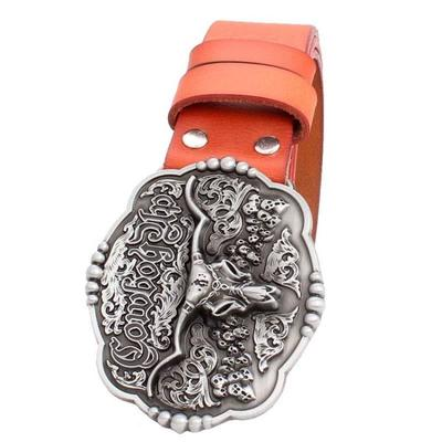Genuine Leather Belt and Bull Skull Belt Buckle