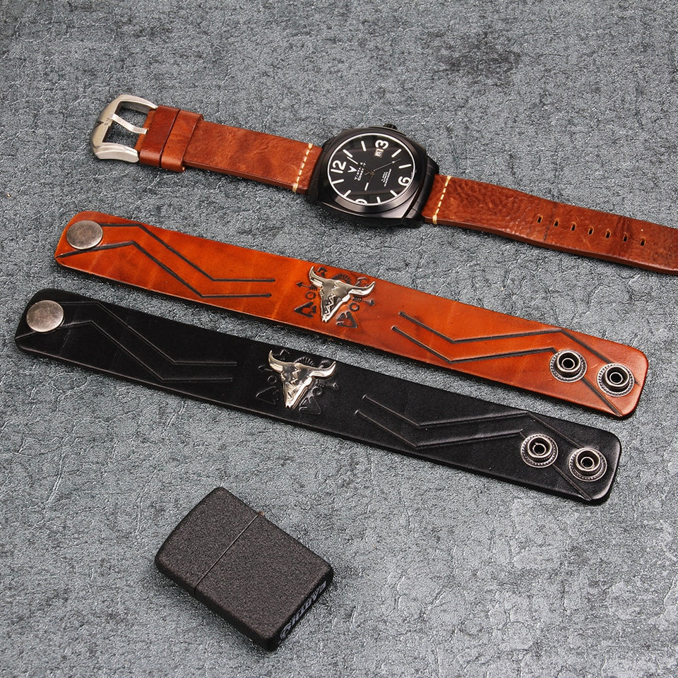 Bull Skull Adjustable Leather Bracelet