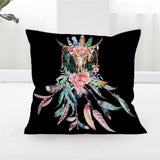 Cow Skull Pillow Cover Dreamcatcher Throw Pillowcase