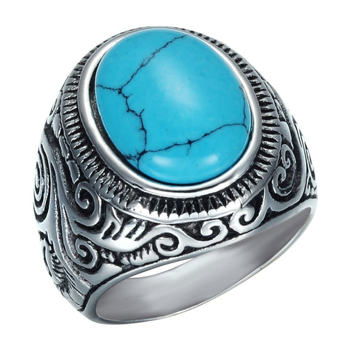 Vintage Natural Blue Turquoises Mens Stainless Steel Titanium Ring