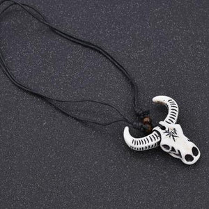 Bull skull head necklace front