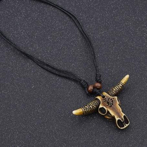 African Tribal Bull Head Skull Amulet Pendant Necklace