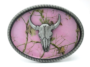 Bull skull head belt buckle front