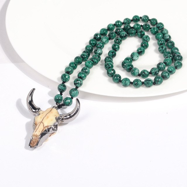 Bull Skull Rope Chain Necklace