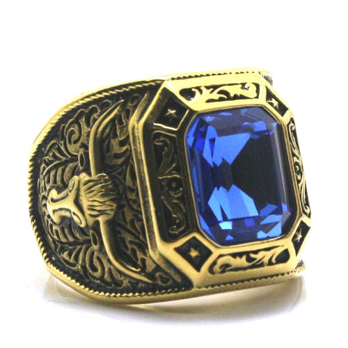 Mens Stainless Golden West Cowboy Stone Ring