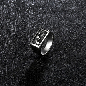 Stainless Steel Cool Silver Cowboy Ring For Men
