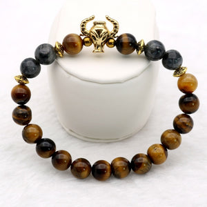 Gold-color Tiger-eye and Loose Moon Stone Bull Head Beaded Bracelet