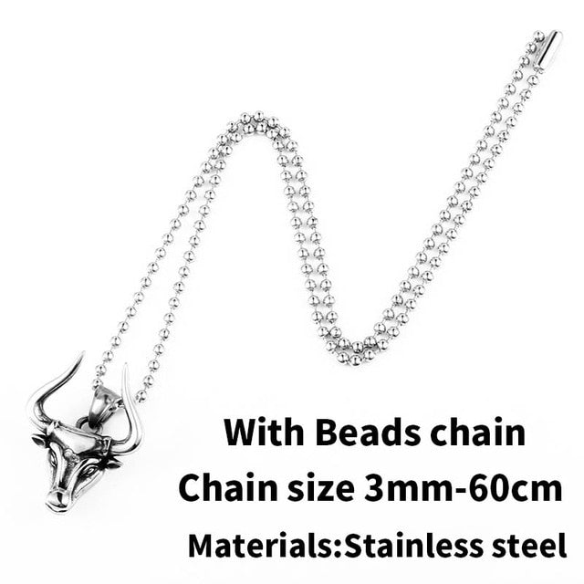 Stainless steel Odin bull head Amulet  Viking necklace