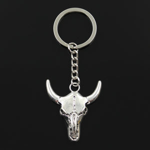 Bull skull head key chain front