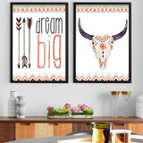Motivational bull skull canvas poster front