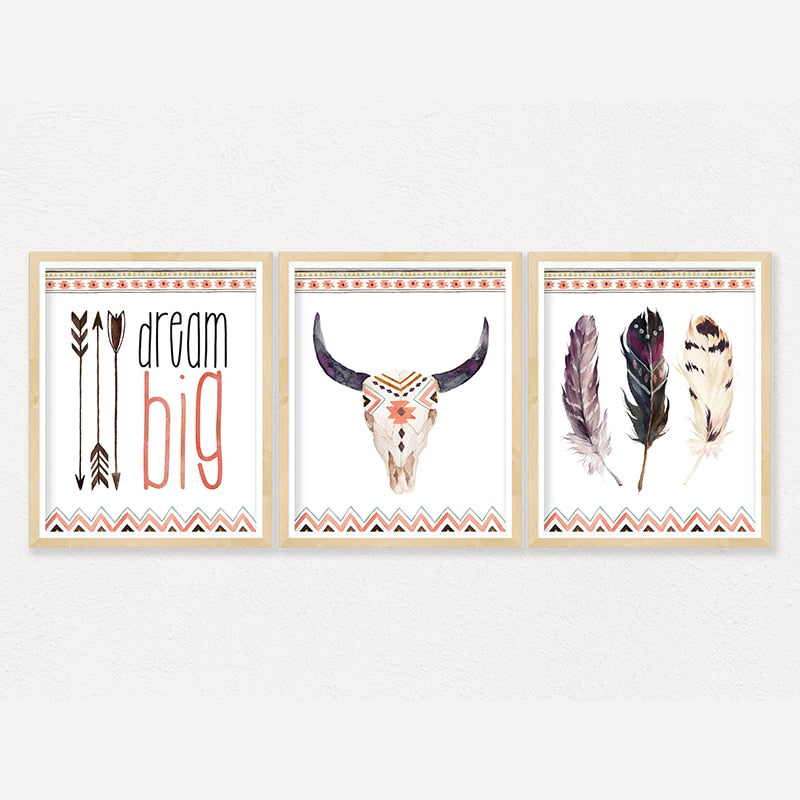 Motivational Bull Skull Canvas Posters