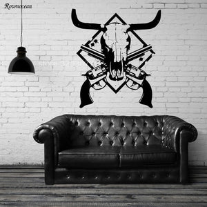 Cow Skull Revolver Vinyl Wall Decal Home Decor