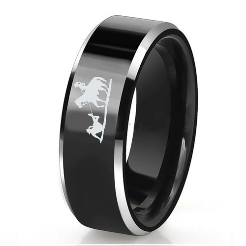 Engraved Western Cowboy Rings for Men 8mm Tungsten