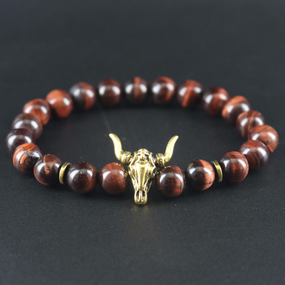 Dark Red Tiger-eye Stones Women Antique Gold Bull Head Bracelets
