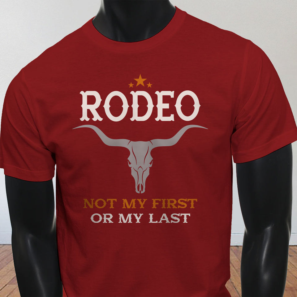 New High-Elastic Cotton  NOT MY FIRST RODEO BULL SKULL COWBOY Mens/ Womans T-Shirt
