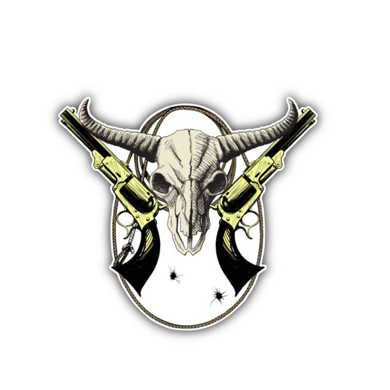 Wild West Bison Skull Decal Reflective Car Sticker
