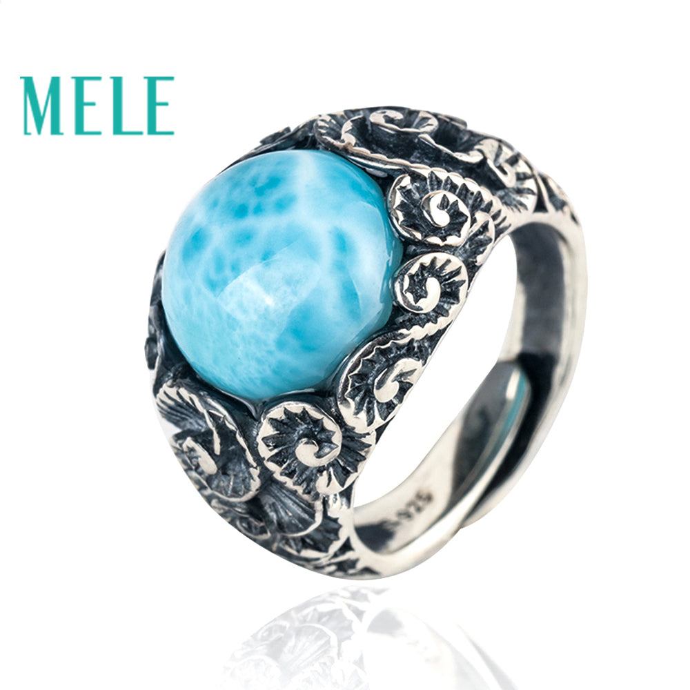 Natural Blue Larimar 925 Sterling Silver Vintage Ring for Men and Women
