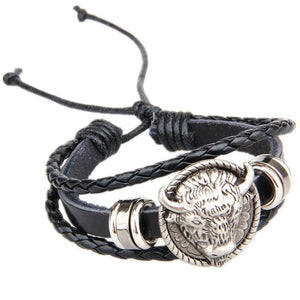 Vintage Buffalo Head Antique Leather Bracelet