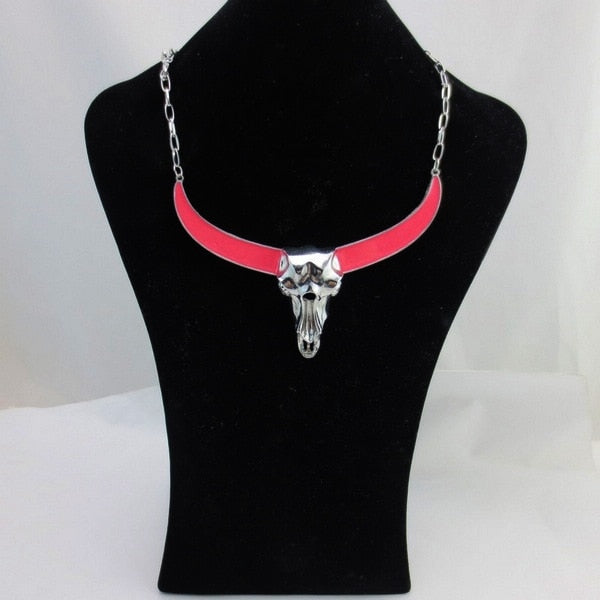 Metal Bull Skull Horn Choker Necklaces