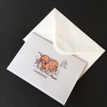 "Load image into Gallery viewer, Highland Cow Card - ""Gairdnin'"""