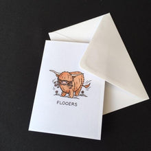 "Load image into Gallery viewer, Highland Cow Card - ""Flooers"""