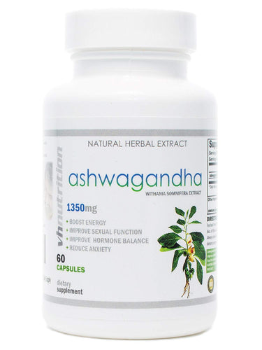 Ashwagandha | 1350 mg Powder Capsules | 1.5% Withania Somnifera Extract | 30 Day Supply