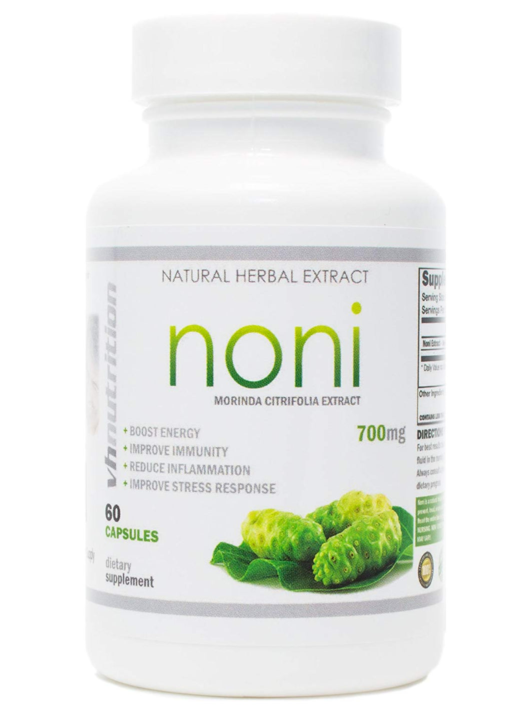 Noni Capsules | 700mg Morinda citrifolia Powder in Pills | 60 Day Supply