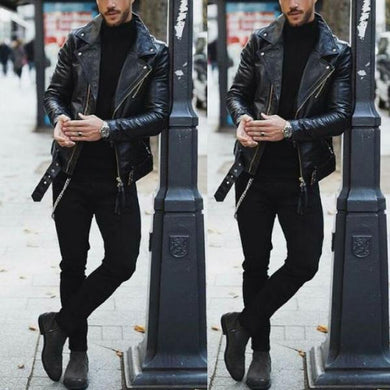 Lapel Zipper Long Sleeve Leather Jacket
