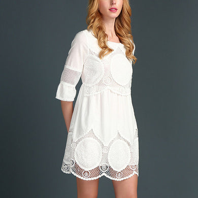 Women Lace Cutout Large Size Dress