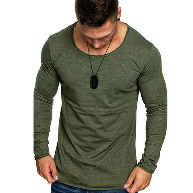 Slim-Fit Large Size Round Neck Pullover Men's Long-Sleeved T-Shirt