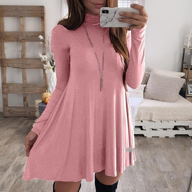 Turtle Neck Long Sleeve Plain Casual Dresses