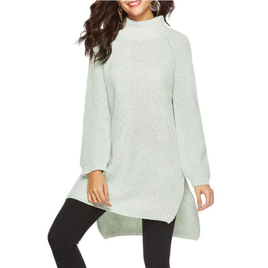 Round Neck  Asymmetric Hem Slit  Plain Sweaters