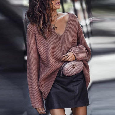 V Neck  Plain Sweater