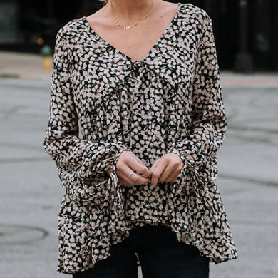 V-Neck Long Sleeve Printed Floral Shirt