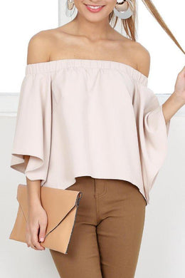 Nude Off Shoulder Bell Sleeve Plain Shirt