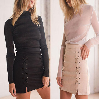 Lace Up Slit Zipper  Plain Skirts