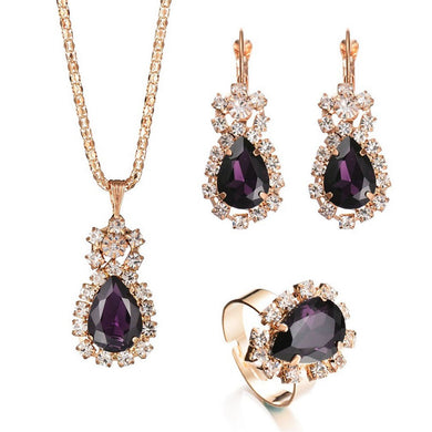 Retro Rhinestone Faux Crystal Necklace Ring And Earrings