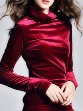 Load image into Gallery viewer, High Neck Solid Velvet Long Sleeve T-Shirt