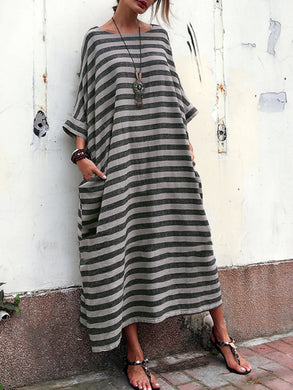 Oversized Striped Round Neck Pocket Maxi Dress Vintage Dress