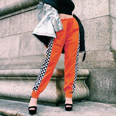 Side Zipper Checkerboard Contrast Color Casual Pants