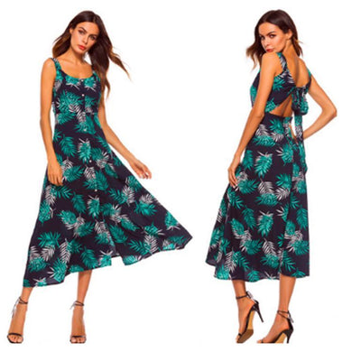 Green Printed Long Vacation Dress