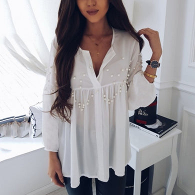 White Long Sleeves T-Shirts Blouses