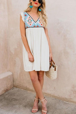 White Fashion Sleeveless Floral Print Mini Dress