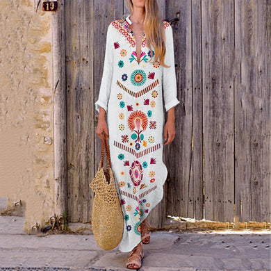 V-Neck Bohemian Printed Shift Dress