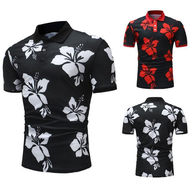 Floral Print Casual Fashion Short Sleeve Polo Shirt