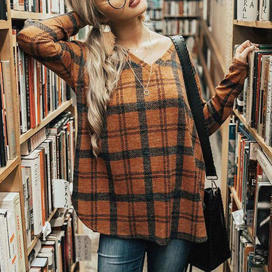 V-Neck Split Hem Plaid Long Sleeve T-Shirt