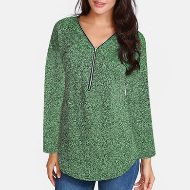 Zipper V-Neck Long-Sleeved Cotton Shirt