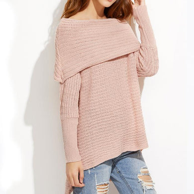 Front Short Back Long Large Collar Oversized Sweater