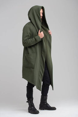 Solid Color Hooded Long Cardigan Coat